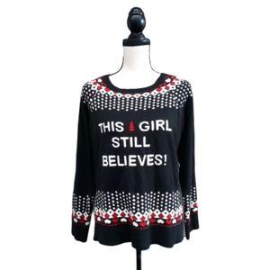"LAURA SCOTT CHRISTMAS SWEATER ""STILL BELIEVES"""